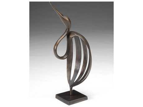 Wildwood Lamps Stylized Crane Cast Bronze Sculpture