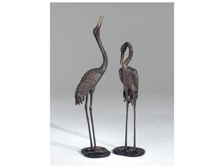 Wildwood Lamps Cranes Pair Weathered Bronze On Cast Aluminum Sculpture WL292152