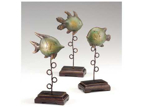 Wildwood Lamps Plinthed Fish Ceramic Sculpture (Set Of Three) WL292360