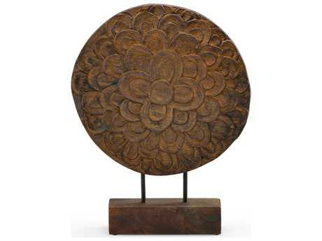 Wildwood Lamps Floral Disc Burnt Oil Wood Sculpture WL292618