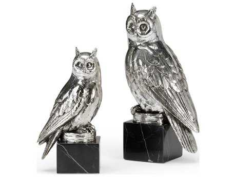 Wildwood Lamps Owls Cast Composite Silver Plate Black Marble Mounting Sculpture (Set Of Two) WL300777