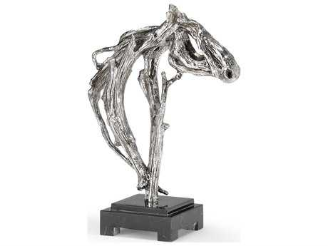 Wildwood Lamps Horse Cast Composite Silver Plate Black Marble Mounting Sculpture WL300778
