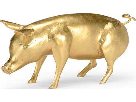 Wildwood Lamps Piggie Cast Composite Gold Leaf Sculpture WL300780