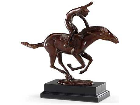 Wildwood Lamps The Racer Cast Brass Wood Plinth Sculpture WL392015