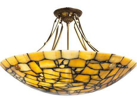 Wildwood Lamps Parlor Round Yellow Marble Semi-Flush Mount Light WL65079