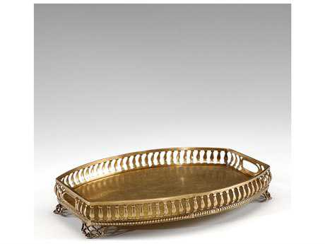 Wildwood Lamps Gallery Solid Brass Cast Gallery Engraved Surface Brass Patina Serving Tray WL300334