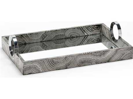 Wildwood Lamps Handled Wood With Nickel Serving Tray WL300585