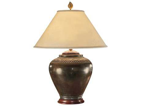 Wildwood Lamps Tribal Faux Pottery Patina Carved Neck Pot Table Lamp WL21018