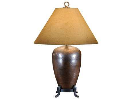 Wildwood Lamps Oxidized Old Black Iron Hammered Copper Table Lamp WL21093