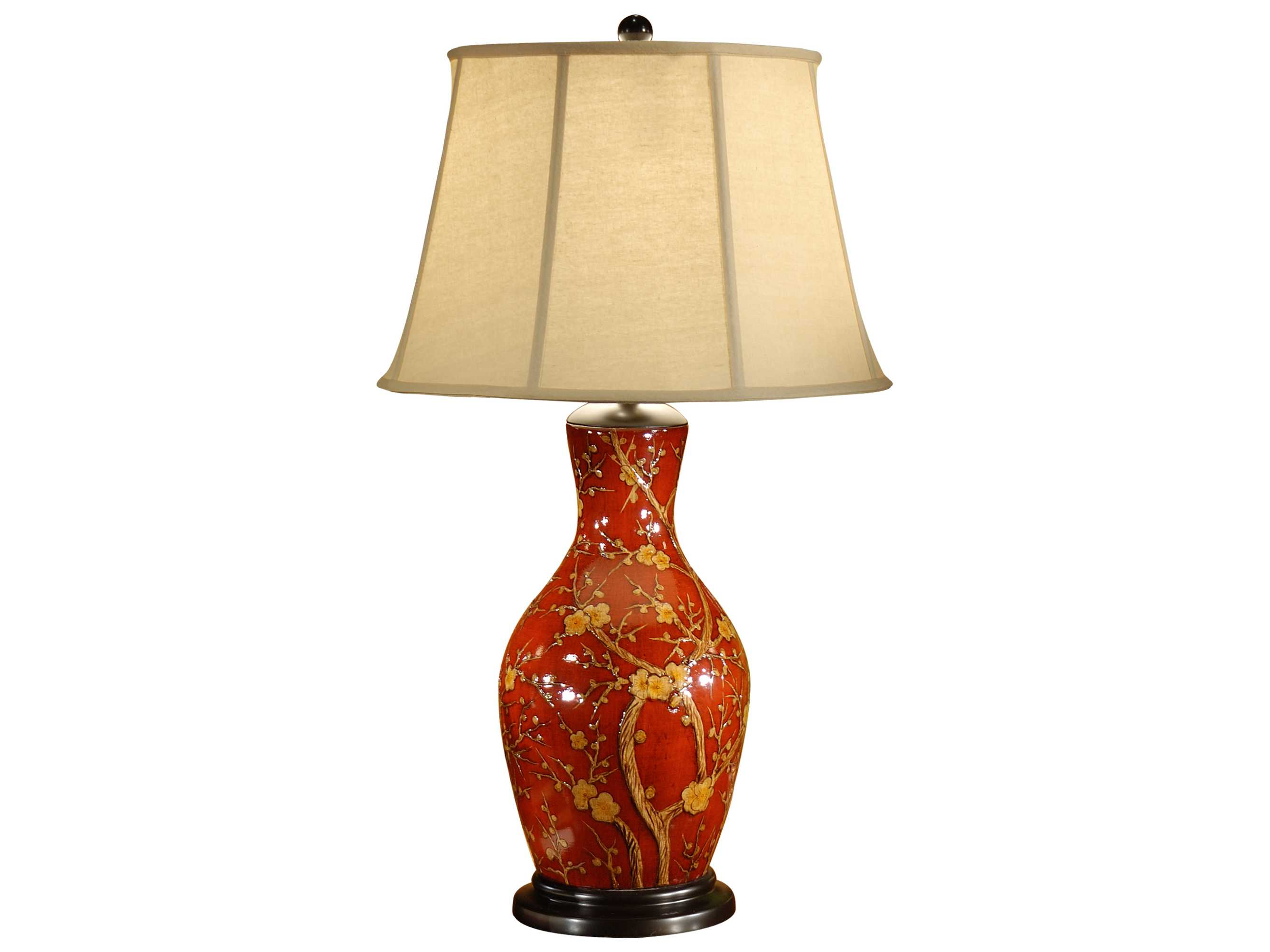 Wildwood Lamps On Porcelain Blossoms On Red Table Lamp