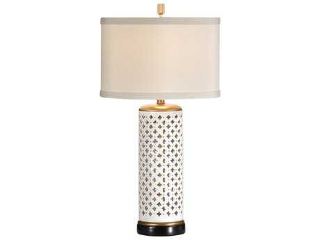 Wildwood Lamps Open Cutwork On White Porcelain Pierced Clubs Table Lamp WL46646
