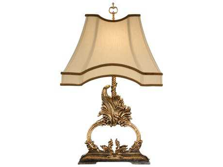 Wildwood Lamps Gold Metal Leaf Old Silver Faux Wood Gilt Flourish Table Lamp WL46863