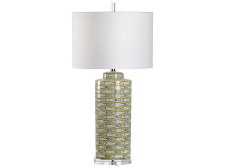 Wildwood Lamps Yellow / White Blue Glaze 1-light Table Lamp