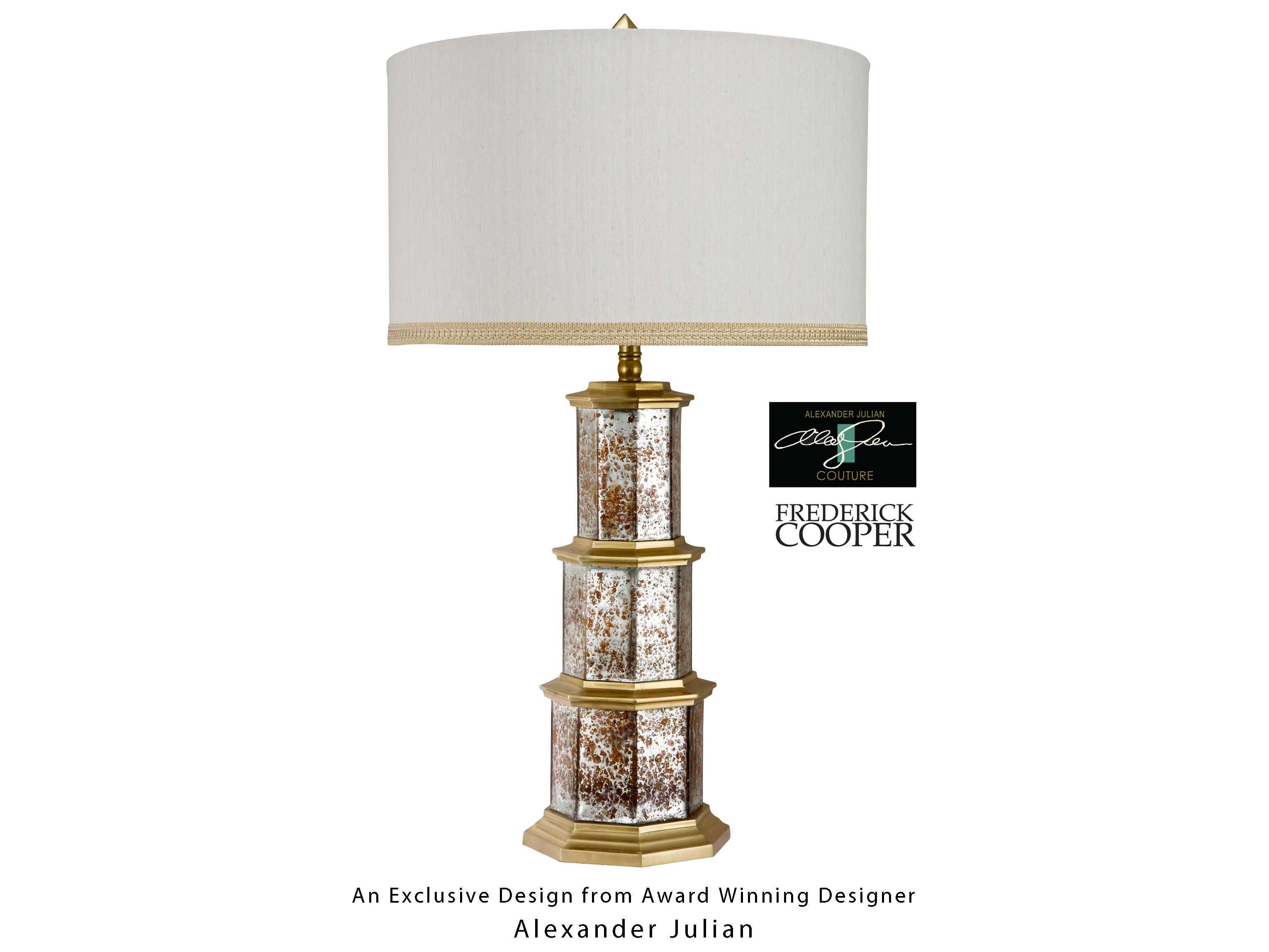 Wildwood Lamps Zhending Octagonal Mercury Glass Ant Brass Pagoda Brass Table Lamp