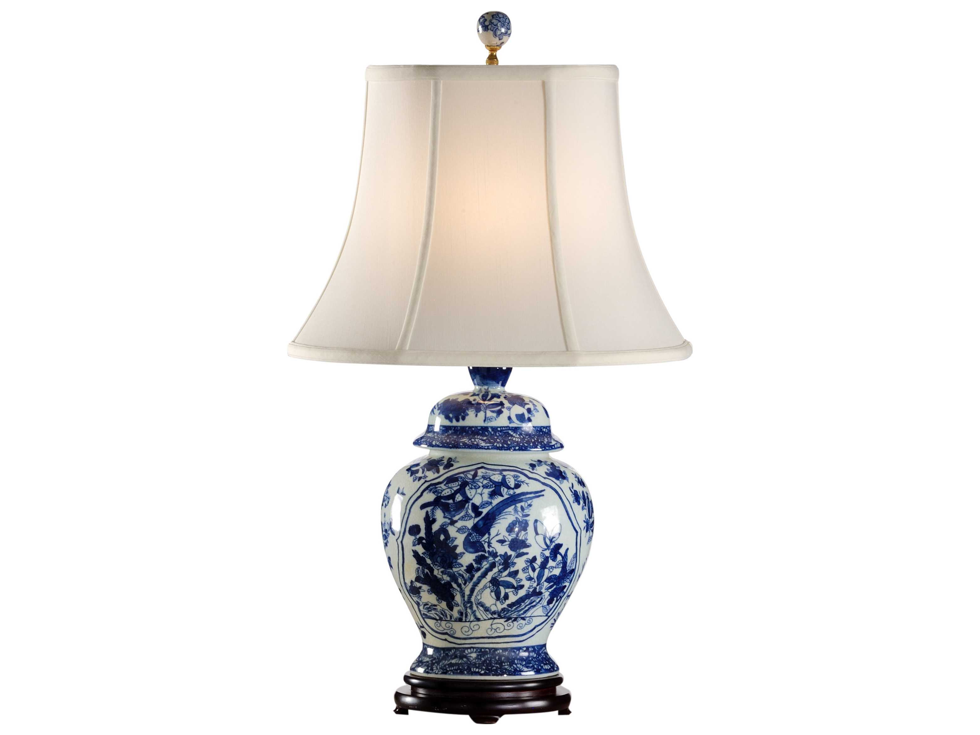 Wildwood Lamps Fledgling Oriental Jar Blue And White Table