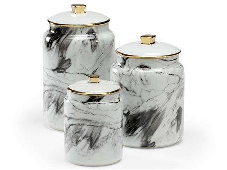 Wildwood Lamps White Decal / Black Gold Urns WL301658