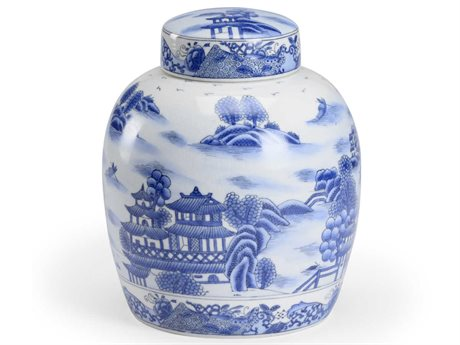 Wildwood Lamps White / Blue Glaze Hand Painted Urns WL301724