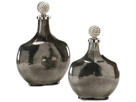 Wildwood Lamps Palacio Bottles Art Glass Nickel And Golden Ash Vase (Set Of Two) WL294367
