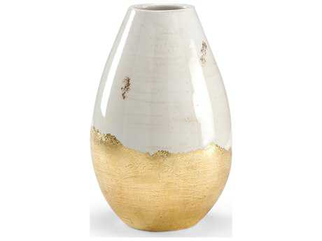 Wildwood Lamps White Glaze Metallic Gold Euro Ceramic Vase WL295203