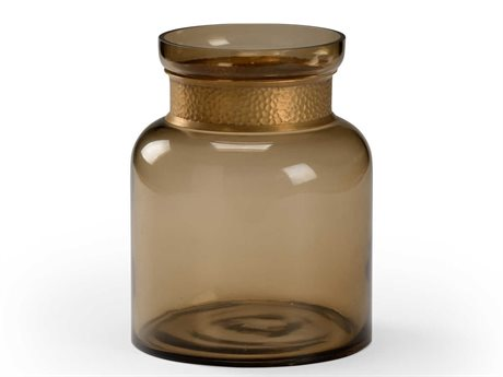 Wildwood Lamps Brown Smoked / Antique Brass Vase