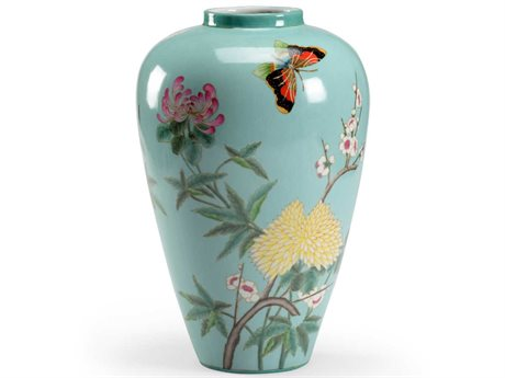 Wildwood Lamps Mint Glaze / Hand Painted Vase