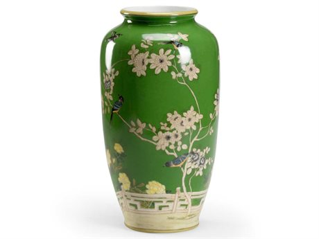 Wildwood Lamps Green Glaze / Hand Painted Vase WL301721