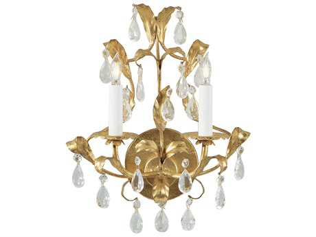 Wildwood Lamps Gold And Crystal Metal Leaf On Iron Two-Light Wall Sconce WL2214