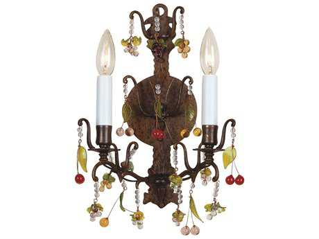 Wildwood Lamps Crystals Brass Lead Crystal Two-Light Wall Sconce WL7789