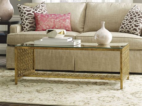 Woodbridge Furniture Gold Leaf / Antique Patina 48'' Wide Rectangular Coffee Table