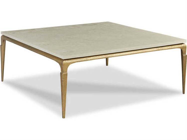 Woodbridge Furniture Spanish Marble Antique Gold 48 Wide Square Coffee Table
