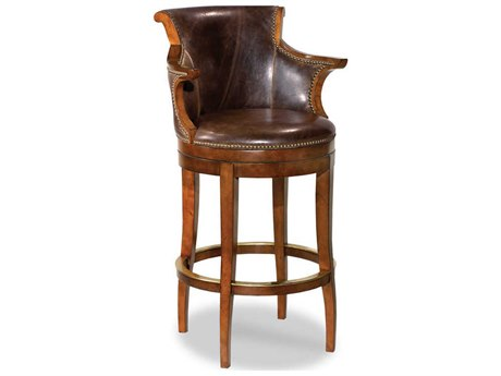 Woodbridge Furniture Waxed Cherry Arm Swivel Counter Height Stool