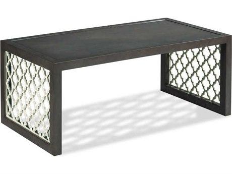 Woodbridge Furniture Royere Charcoal / Pearl White Fretwork 46'' Wide Rectangular Coffee Table