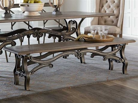 World Interiors Anderson Weathered Gray, Gun Metal Accent Bench