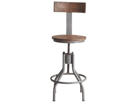 World Interiors Artezia Weathered Gray, Lacquer Side Adjustable Bar Height Stool Dining Chair WITZWATDC18WG