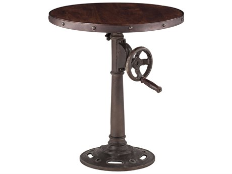 World Interiors Artezia Dark Walnut / Antique Zinc 24'' Wide Round Pedestal Table