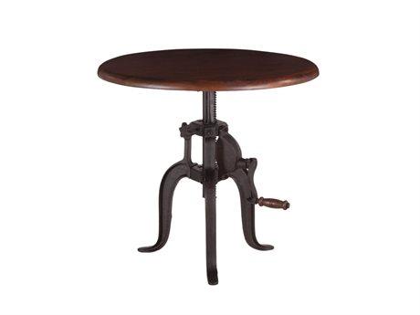 World Interiors Artezia Walnut, Antique Zinc 24'' Wide Round Pedestal Table