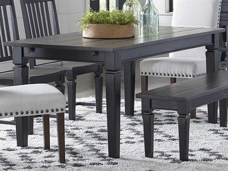 World Interiors Aureille Dark Walnut / Black Rub 66 -102'' Wide Rectangular Dining Table