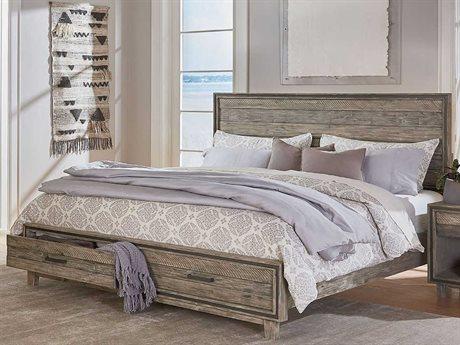 World Interiors Beachwood Weathered Graywash King Panel Bed WITZWDWPBKSGRV