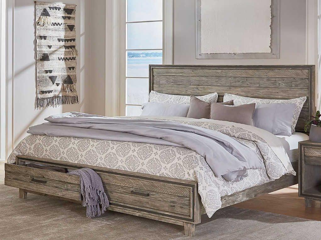 World Interiors Beachwood Weathered Graywash Queen Panel Bed