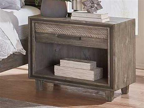 World Interiors Beachwood Weathered Graywash 1 Drawer Nightstand WITZWDWNC26GRV