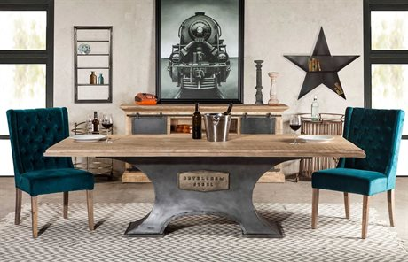 World Interiors Bethlehem Antique Oak, Gun Metal 90'' Wide Rectangular Dining Table