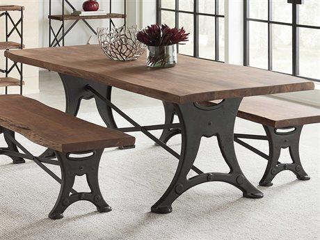 World Interiors Blayne Raw Walnut / Antique Zinc 106'' Wide Rectangular Dining Table