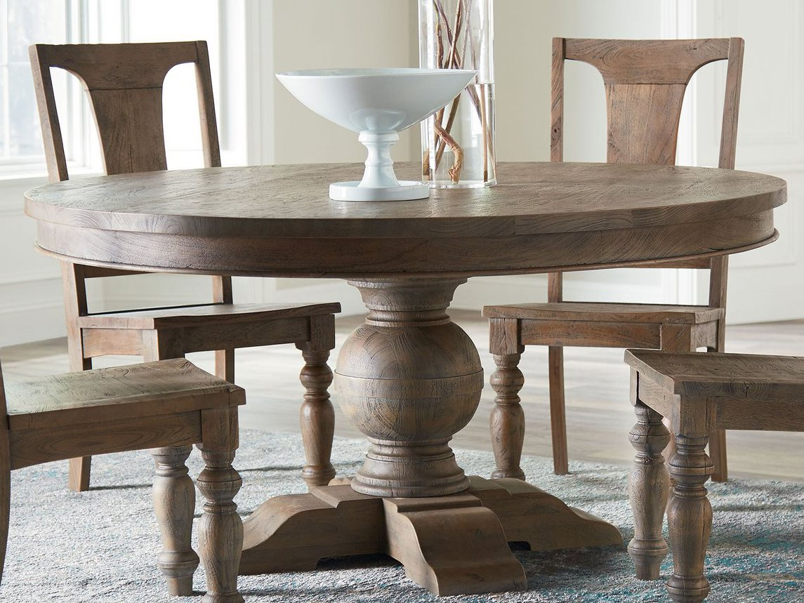 World Interiors Chatham Downs Weathered Teak 72 Wide Round Dining Table Witzwcadotr72wt