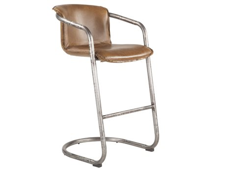 World Interiors Chiavari Distressed Brown / Brushed Nickel Arm Bar Height Stool (Sold in 2)