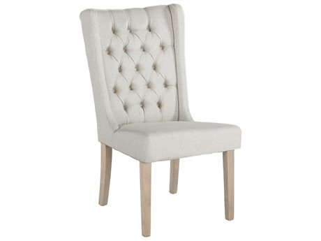 World Interiors Chloe Off-White Linen / Natural Side Dining Chair WITZWCL04N