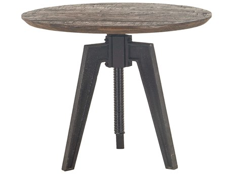 World Interiors Dakota Bandsaw Teak / Distressed Black 42'' Wide Round Bar Height Counter Dining Table WITZWCRADT42BSTF