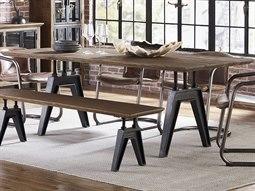Dakota Weathered Teak / Black Rubbed 84'' Wide Rectangular Dining Table