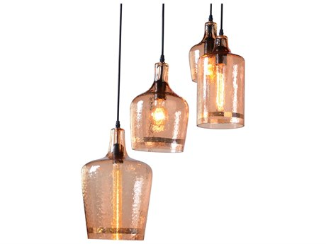 World Interiors Element Hammered Glass 15'' Wide Industrial LED Pendant WITZWLMCL16HGG