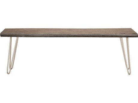 World Interiors Grandby Weathered Gray, Antique Nickel Accent Bench
