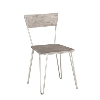 World Interiors Grandby Weathered Gray, Antique Nickel Side Dining Chair (Sold in 2)